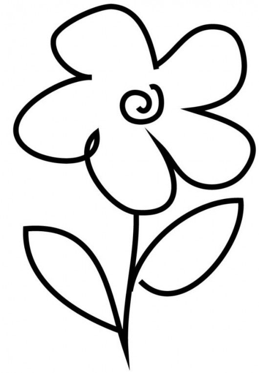 Very Simple Flower Coloring Page For Preschool