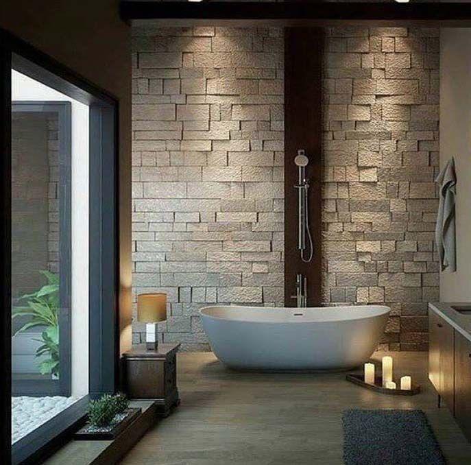 Own Your Morning Bathroom City Suite Urban Loft Interior Home Decor Wall Modernes Badezimmerdesign Moderne Kleine Badezimmer Luxus Badewanne