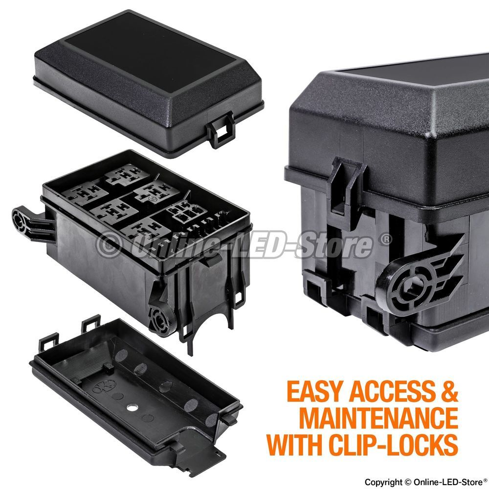 medium resolution of 12 slot relay box 6 relays 6 blade fuses block for marine automotive accessories ols