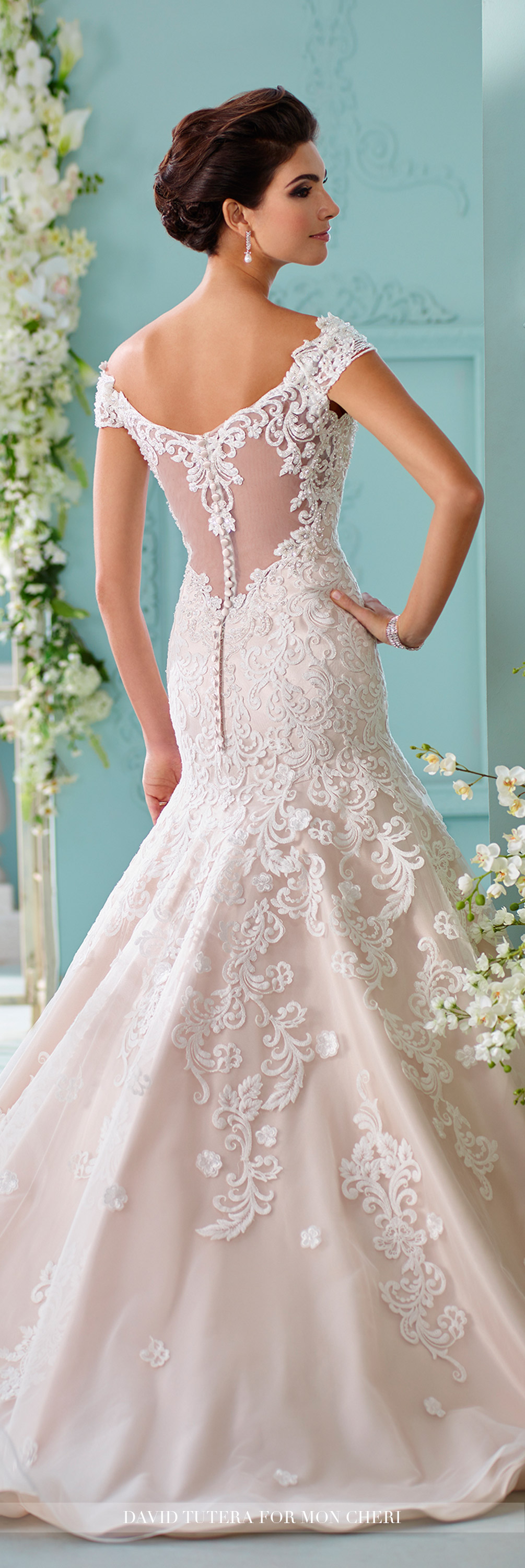 Lace offtheshoulder cap sleeve mermaid wedding dress sialia