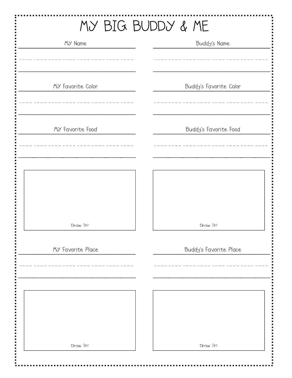 Does your class have big buddies? Free questionnaire. | Back to ...