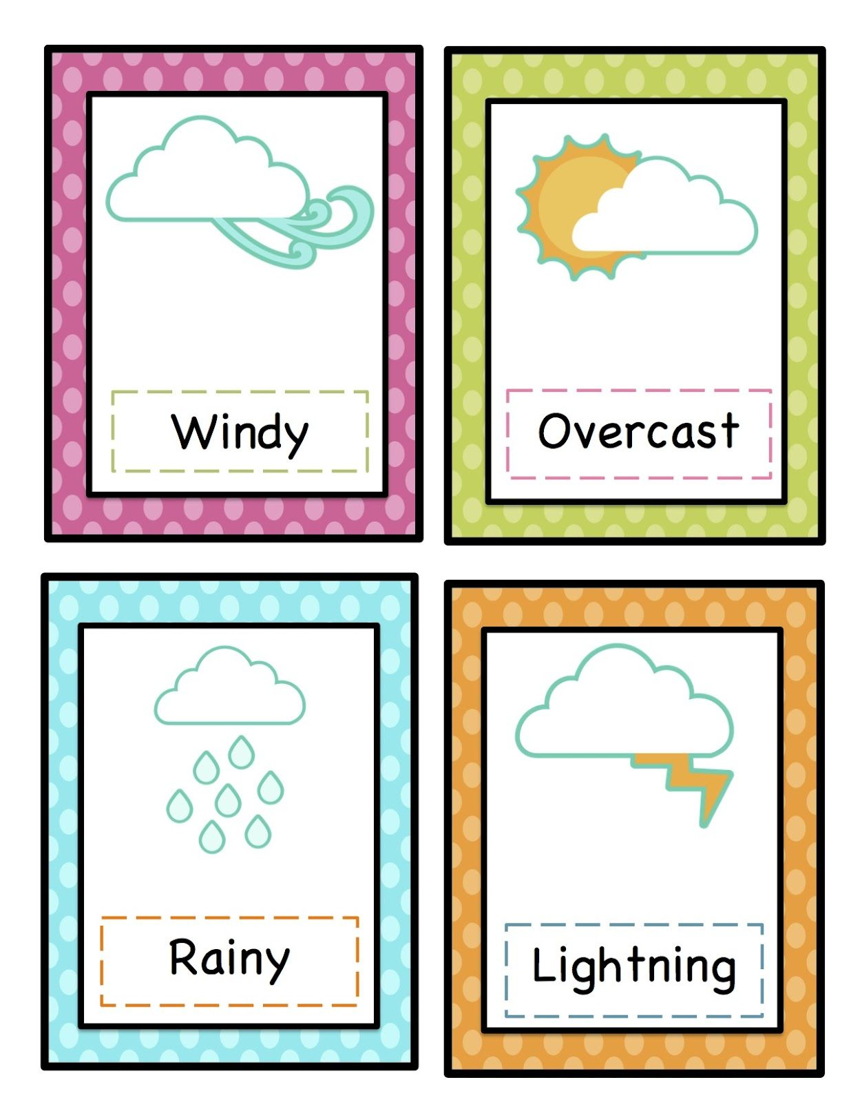 Preschool Printables Weather Cards Printable
