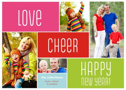 love the cheerful colors of this holiday card!