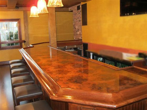 Mottled Copper Bar In A Restaurant #colorcopper #copper #BarTop