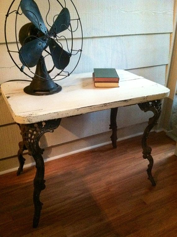 Vintage Table With Wrought Iron Legs And Wooden Top Painted
