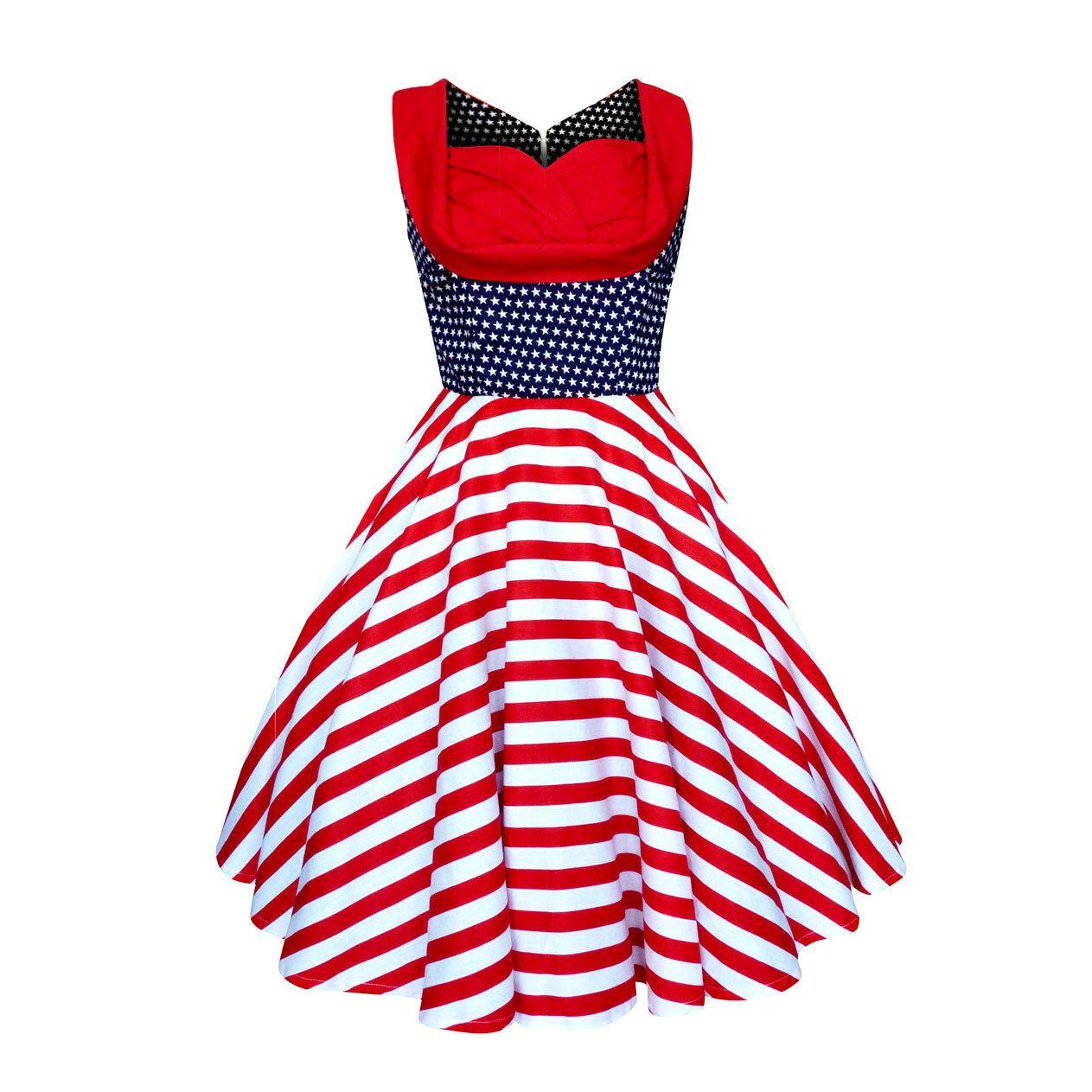 Pin Up Dress Christmas USA American Flag Stars Stripes Vintage ...