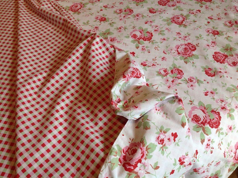 Cath Kidston Rosali Double Duvet Cover Cotton Retro Vtg