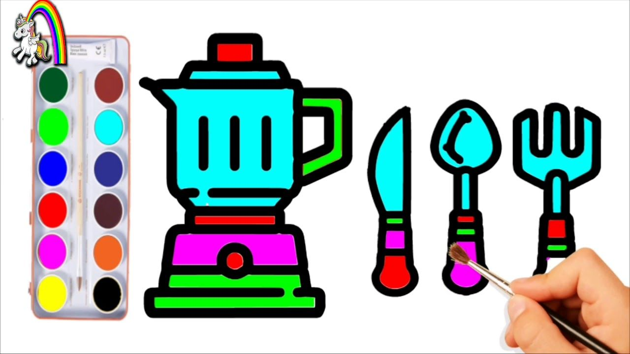 Kitchen coloring pages Appliances for Kids and How to Draw