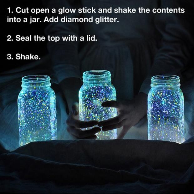 1. cut open a glow stick and shake contents into a jar, add diamond glitter. 2.seal the top with a lid 3.shake this is a fun Idea even for a blanket fort so then you will have a little of light for the blanket fort
