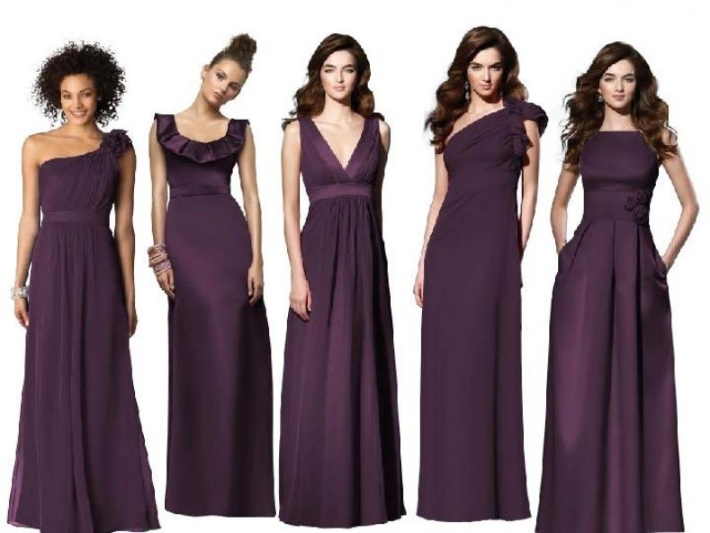 Eggplant and Gray Bridesmaids Dresses