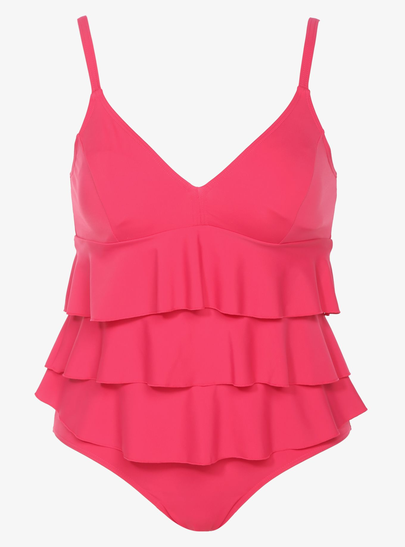 Internet exclusive! This swim set is designed to give you a perfect fit: tiered ruffles flatter and flirt, while soft cups with an elastic band underneath give you the support you want. Includes a matching bikini bottom.