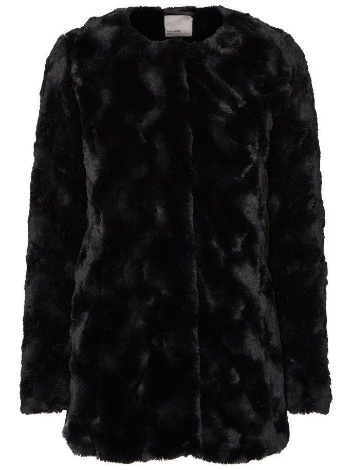 faux fur jacka svart