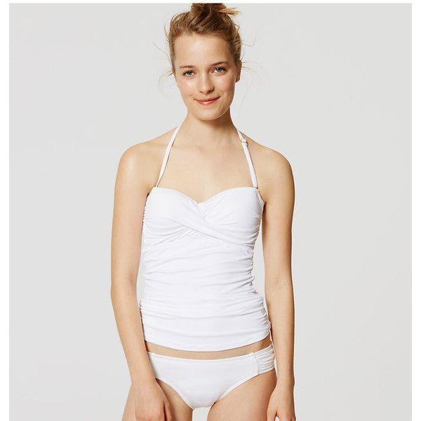 LOFT Beach Twist Bandeau Tankini Top ($45) ❤ liked on Polyvore featuring swimwear, bikinis, bikini tops, white, white halter top, halter top, beach bikini, tankini swim tops and swim suit tops