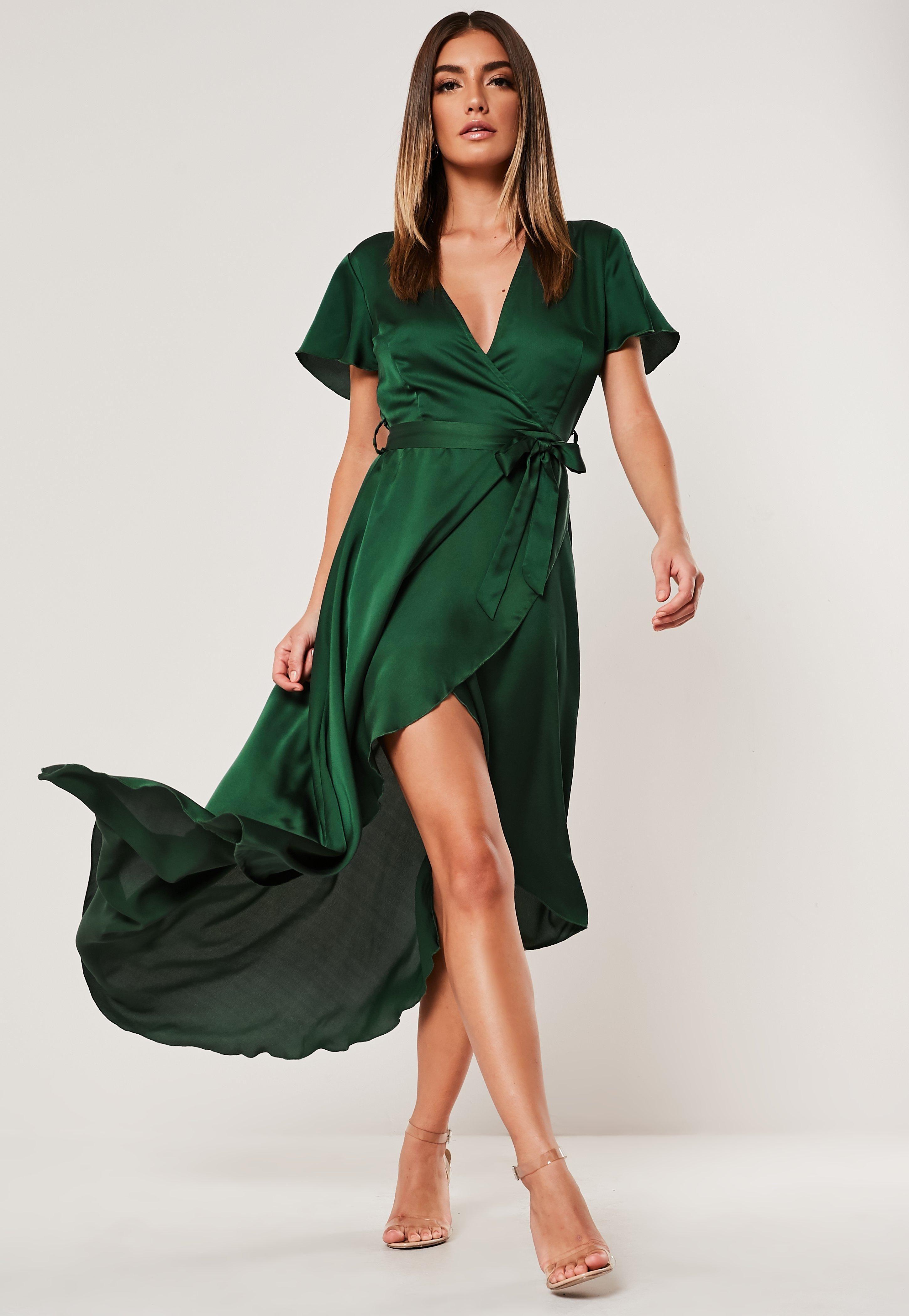 Green Satin Wrap Front Ruffle Midi Dress Sponsored Wrap Sponsored Satin Green Green Midi Dress Midi Dress With Sleeves Satin Long Sleeve [ 4200 x 2900 Pixel ]