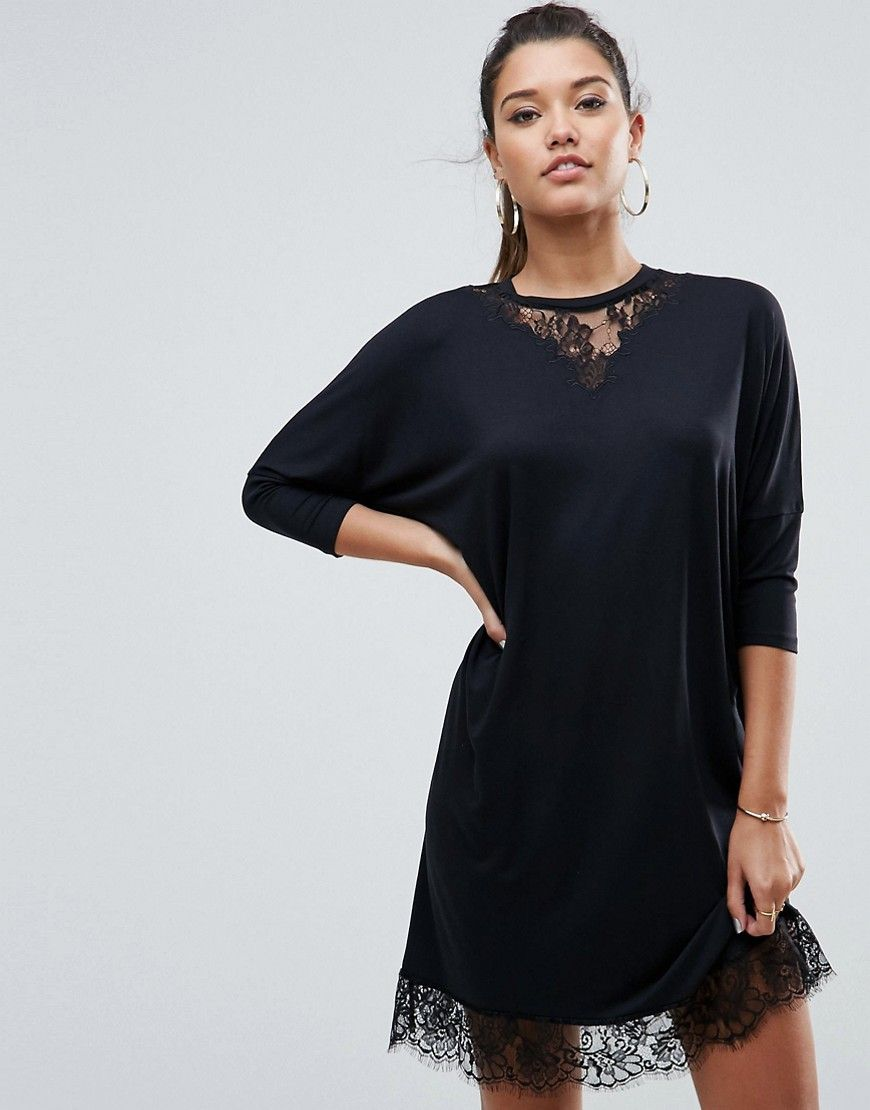 Oversize tshirt dress with batwing sleeve and lace inserts