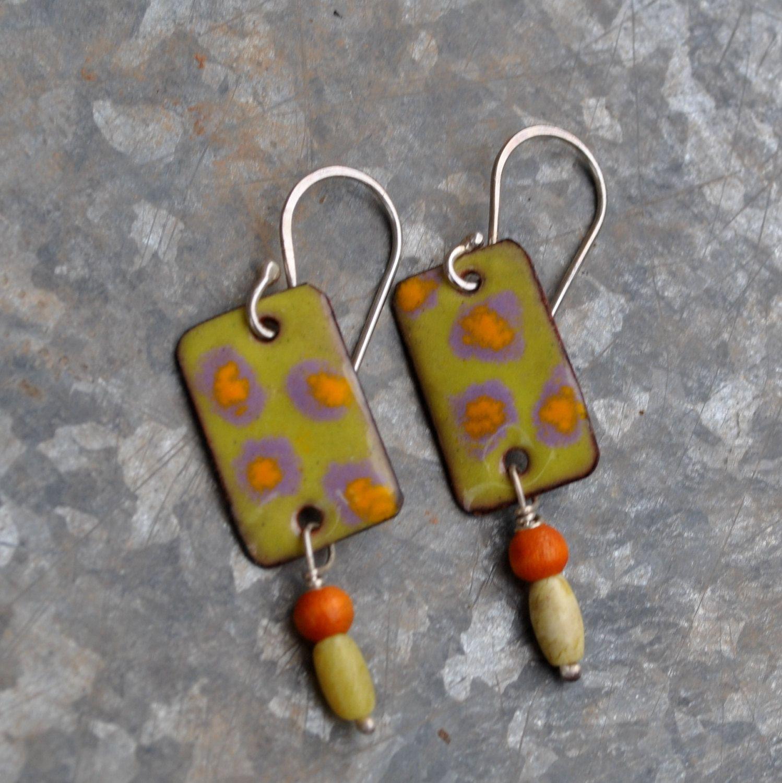 Torch Fired Green Enamel Earrings By Lonesomedovedesigns On Etsy 40 00 Enamel Earrings Polymer Earrings Cloisonne Jewelry