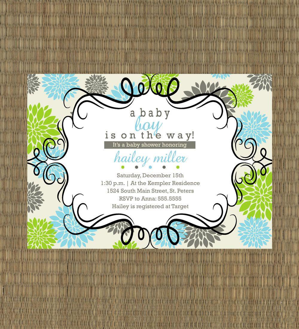 Printable Baby Shower Invitation - Baby Boy Shower Invitation - Lime ...