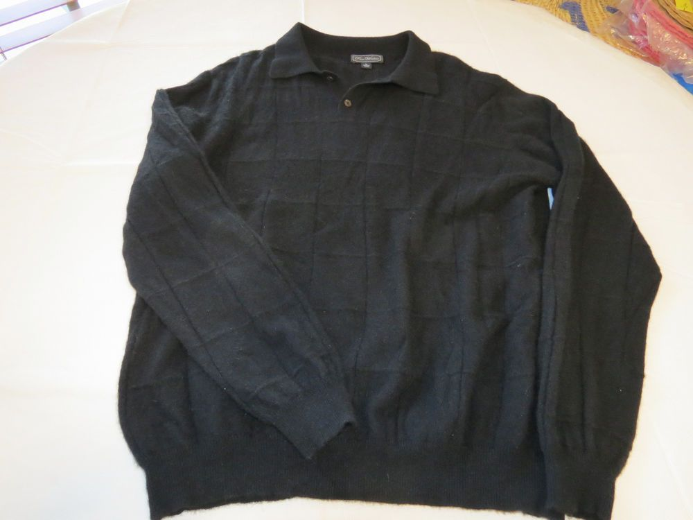 Pace Windsor Mens sweater L black long sleeve polo shirt cashmere EUC @ #PaceWindsor #sweater