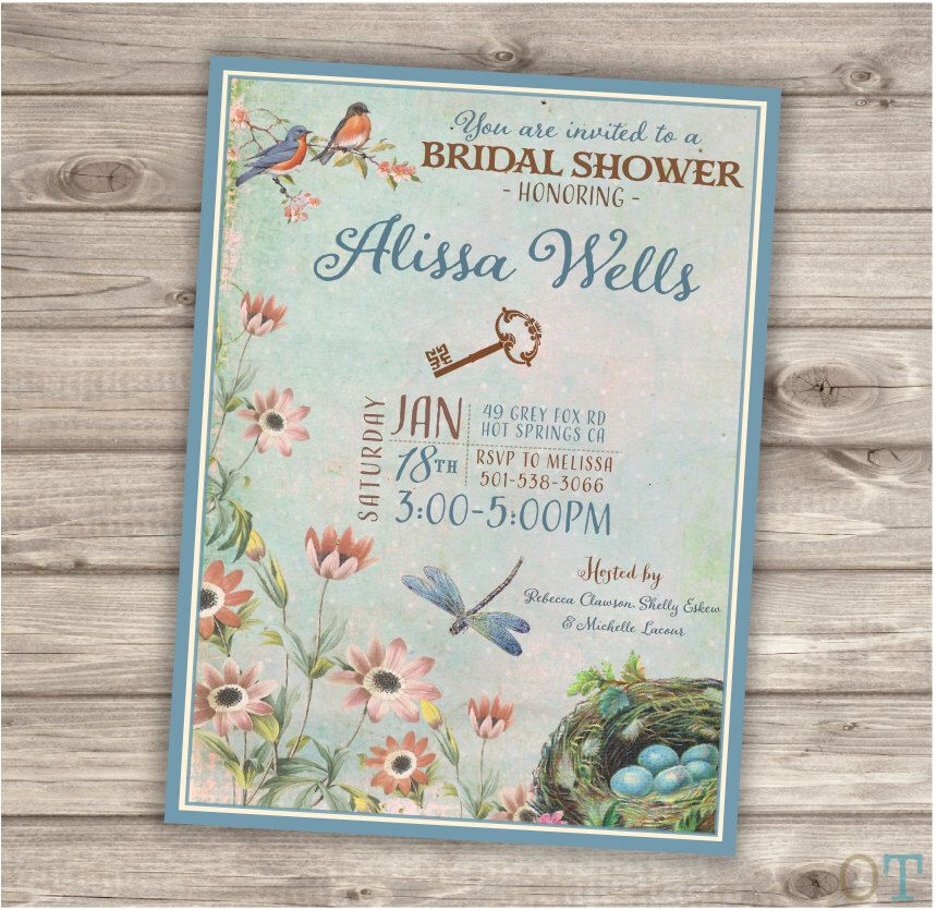 Secret Garden Bridal Shower Printable Invitations Outdoor Garden Party Modern Download Invitations Tea Party Blue Bird Robins Egg NV710 by cardmint on Etsy https://www.etsy.com/listing/226145512/secret-garden-bridal-shower-printable