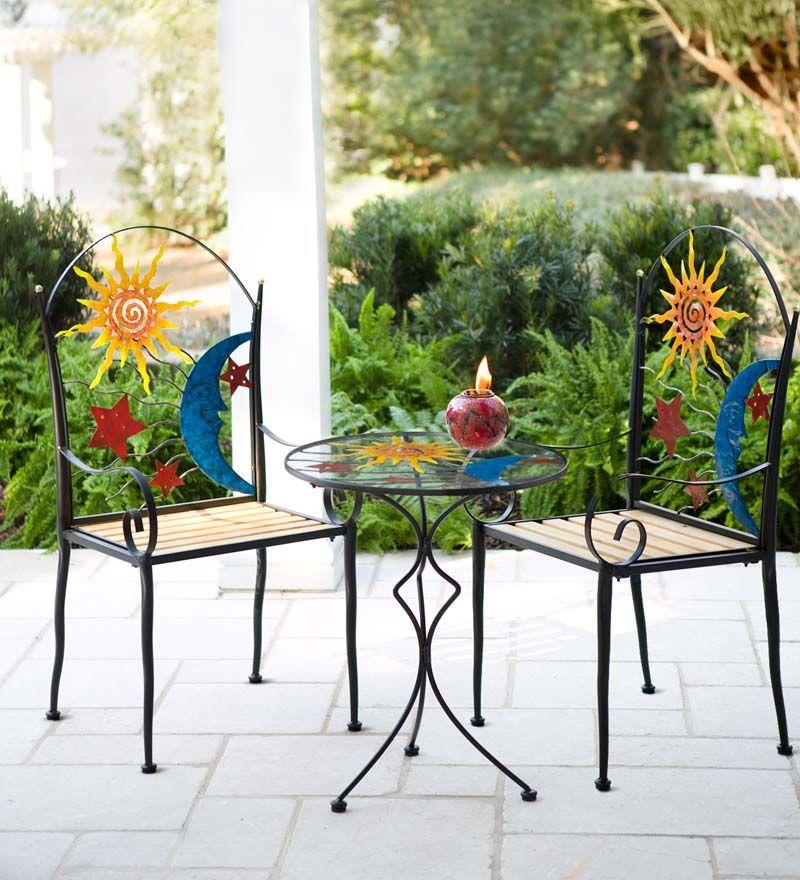 Stars, Moon and Sun Metal Chair and Table Set Metal