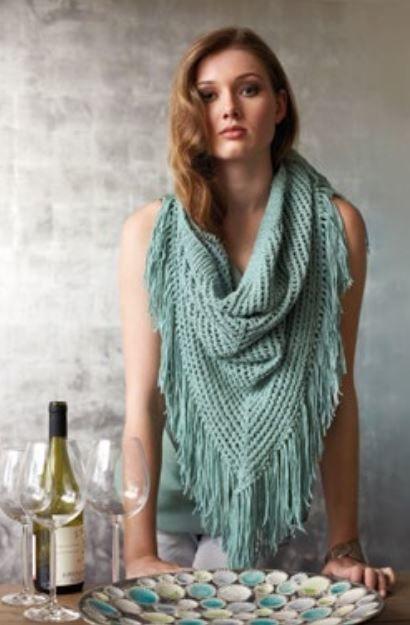 Knit Fringed Shawl