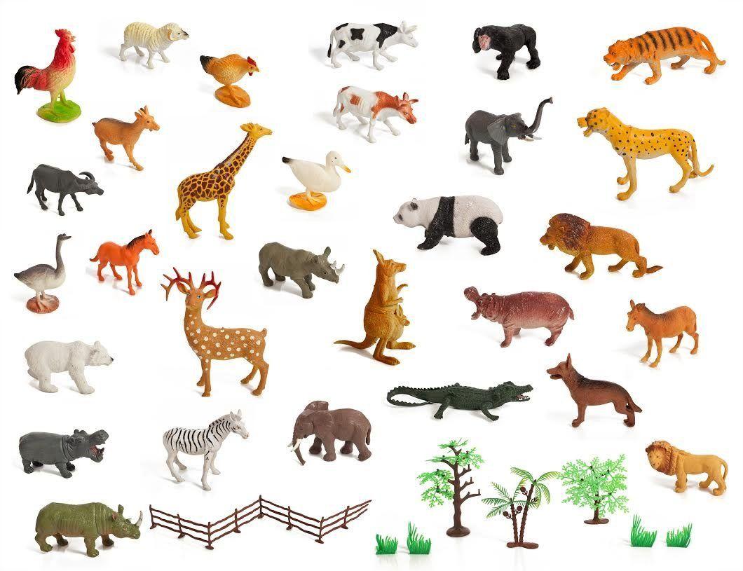 Amazon Com Set Of 30 Large Size Zoo Set Wild Jungle Farm Desert Animals In Large Poly Storage Bag Toys Games Farm Animal Toys Desert Animals Animals
