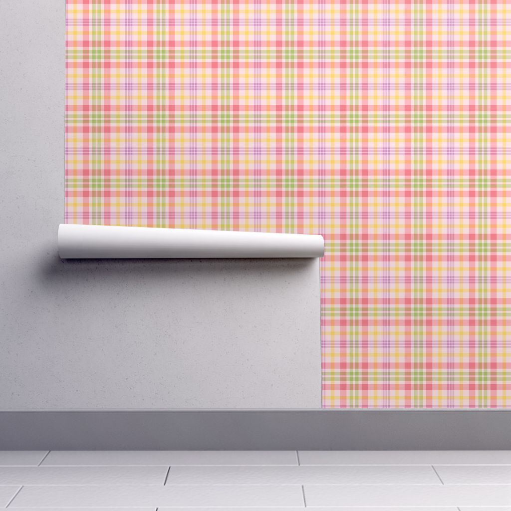 Wallpaper Pink, Purple, Yellow and Green Spring Plaid