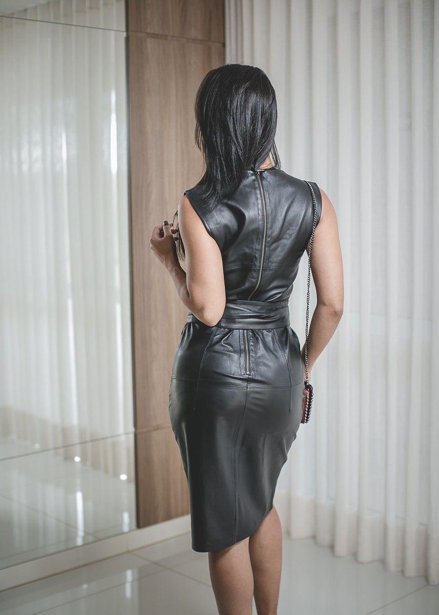 f926b0473c Vestido couro lápis com fenda - O melhor da moda COURO ✓ Loja RN COURO  LEGÍTIMO de Qualidade