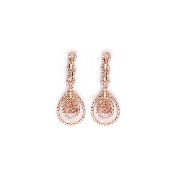 Pink Diamond Pear Drop Earrings in Rose Gold ❤ liked on Polyvore