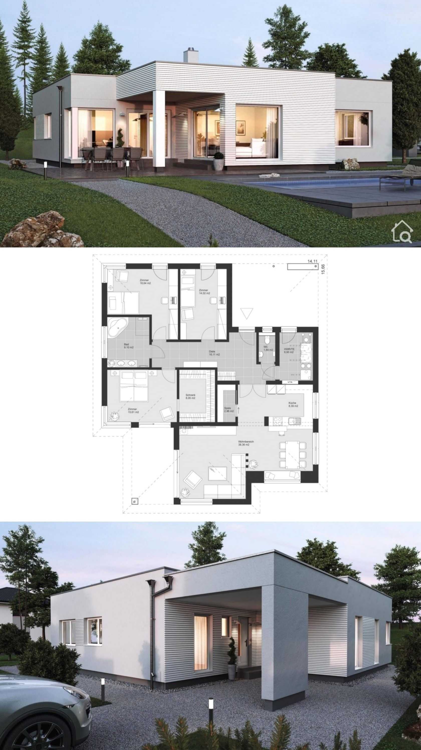 Bungalow House Design Modern In White With Flat Roof Architecture In The Bauhaus Style In 2020 House Construction Plan Bungalow House Design Modern Style House Plans