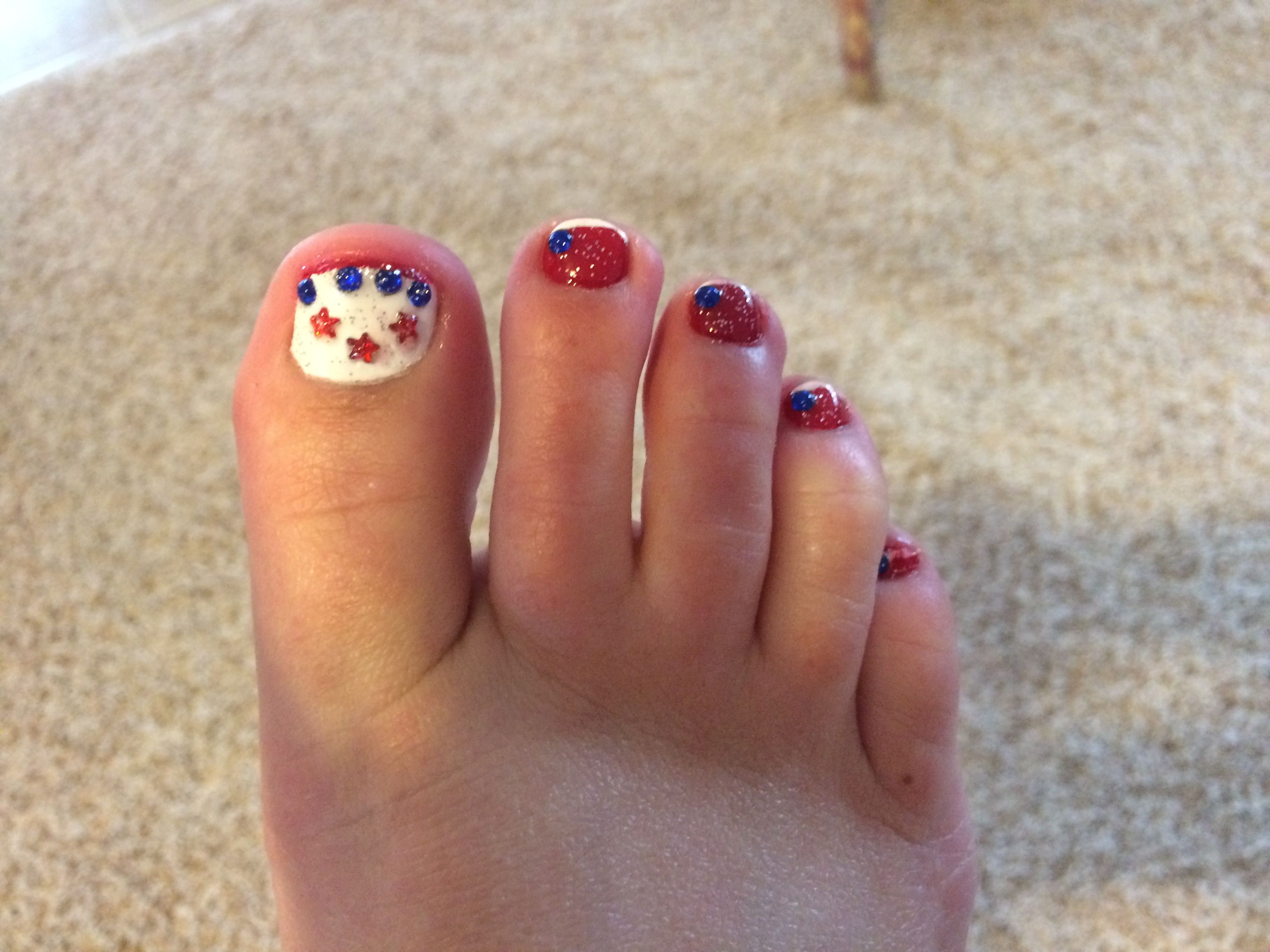 Memorial Day Toe Nail Design Patriotic Toes Nail Designs By Kt