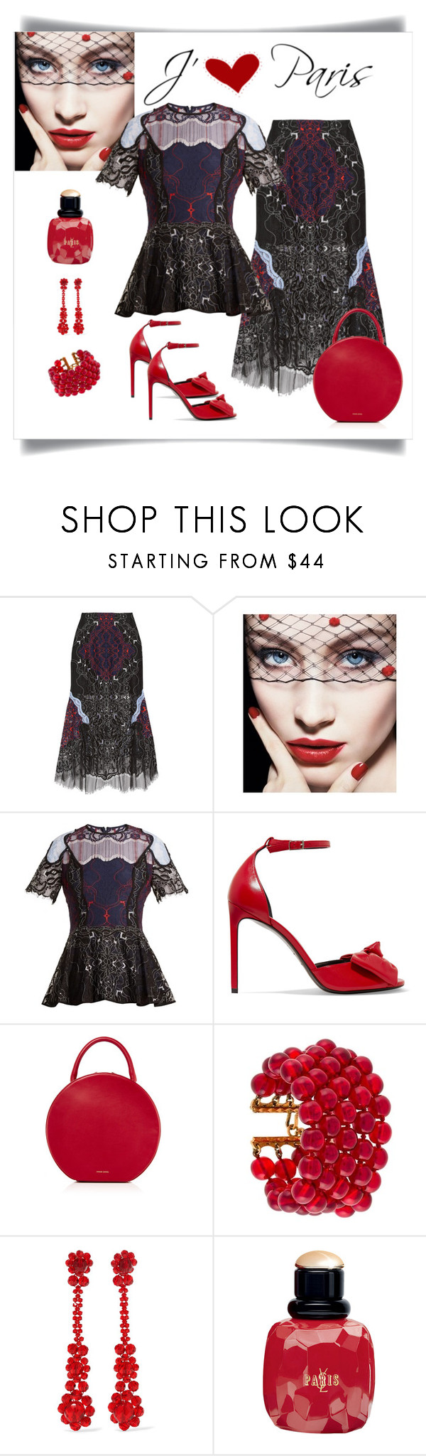 """""""Jonathan Simkhai Tri-Colour Embroidered Lace Top & Skirt"""" by romaboots-1 ❤ liked on Polyvore featuring Jonathan Simkhai, Giorgio Armani, Yves Saint Laurent, Mansur Gavriel, Chanel and Simone Rocha"""