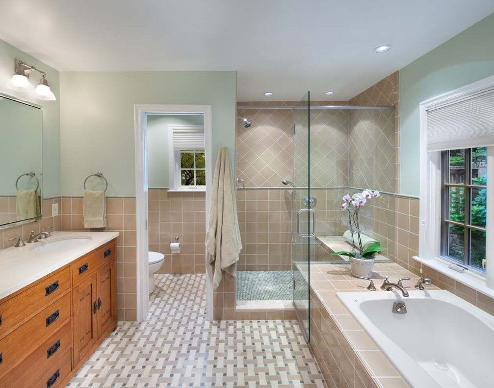 traditional bathroom decorating ideas. Bathroom Layouts Traditional Decorating Ideas Dc Metro Basketweave Tile Floor Glass Shower Enclosure O