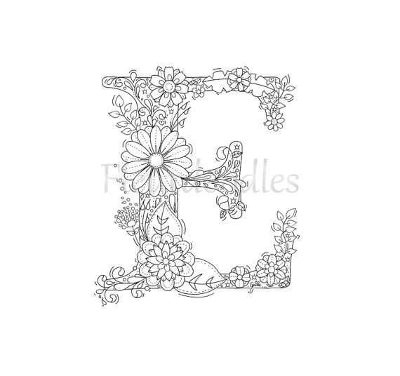 adult coloring page - floral letters, alphabet E, hand lettering ...