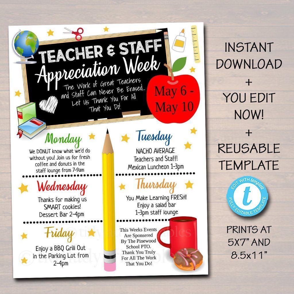 Teacher Staff Appreciation Events Printable Take Home Newsletter Teacher Appreciation Printables Teacher Appreciation Week Themes Teacher Appreciation Themes