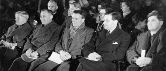 THE SPANISH CIVIL WAR, 1936-1939 A meeting of Republican sympathisers in Britain during the Spanish Civil War, including (far right) the Labour MP Aneurin Bevan.