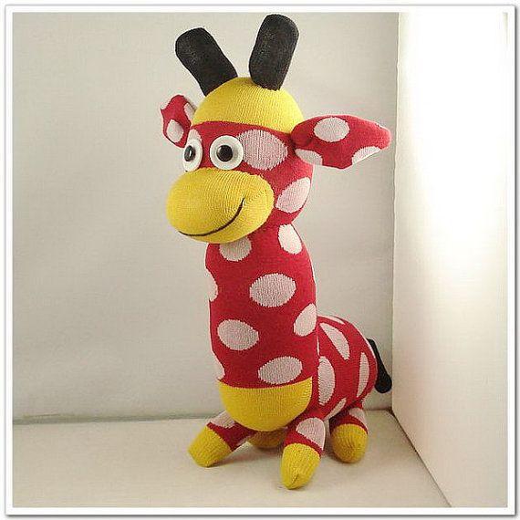 Handmade Sock Monkey Giraffe Stuffed Animal Doll Baby Toys. $19.99, via Etsy.