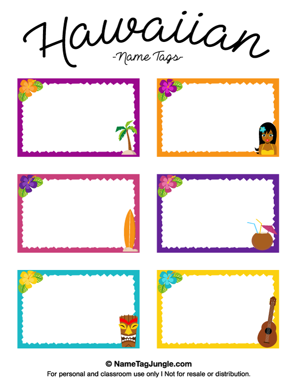 Free printable hawaiian name tags the template can also for Name templates for preschool