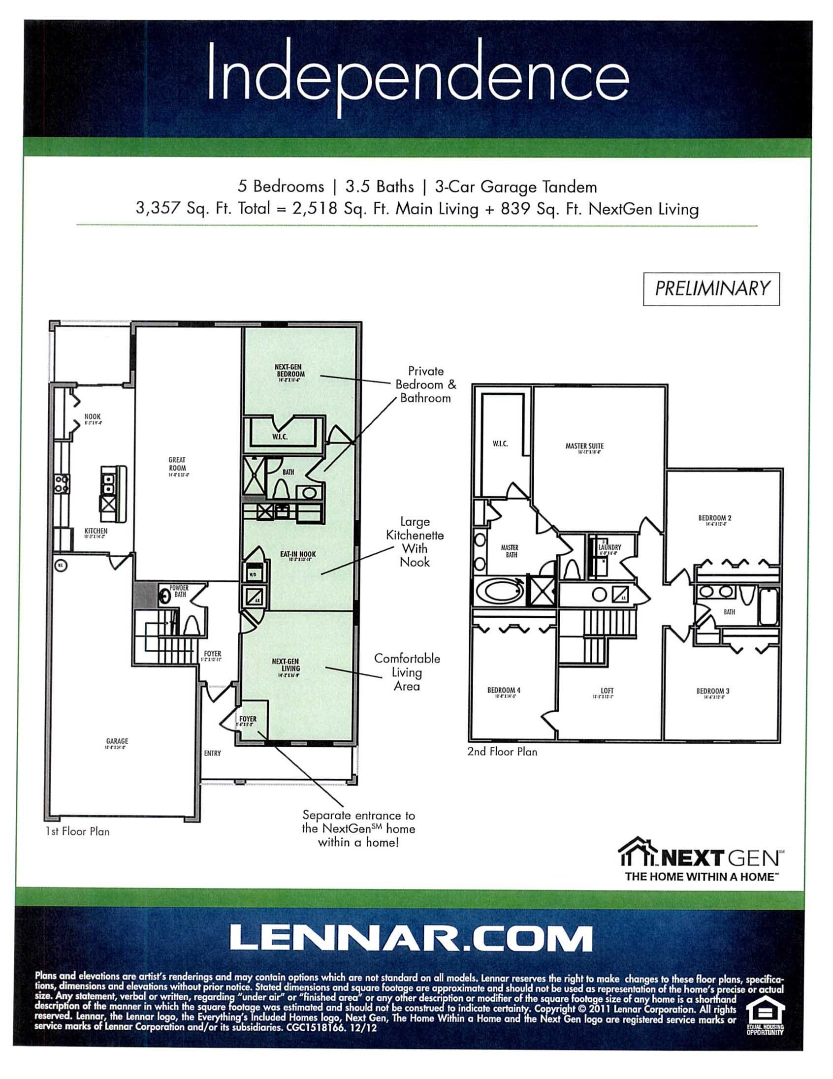 Lennar homes Independence Floorplan Next Gen...Home within a home ...