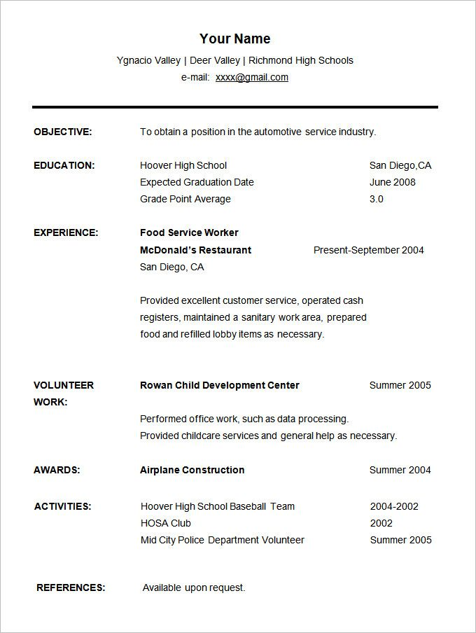 image result for free student cv template word