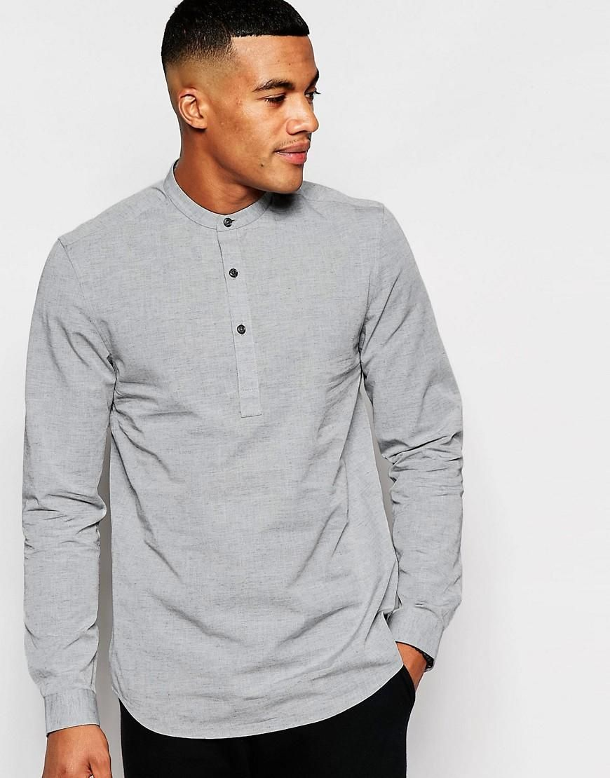 ASOS Grey Shirt With Neps And Grandad Collar In Regular Fit at asos.com