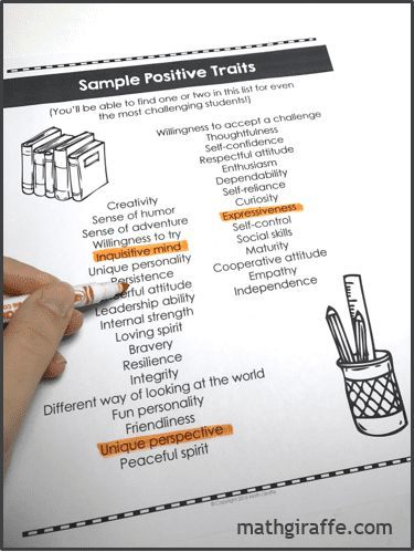 List of Postitive Student Characteristics for even the most - sample report cards