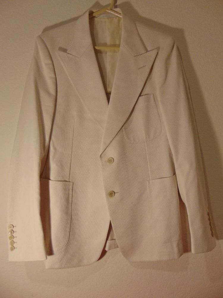 77d56205dbf Men s Gucci Jacket Blazer Sport Coat 52 R Cotton Corduroy White Double  Breasted  Gucci  DoubleBreasted