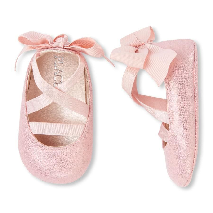 Baby Girls Wrap Bow Metallic Ballet Flats With Images Baby