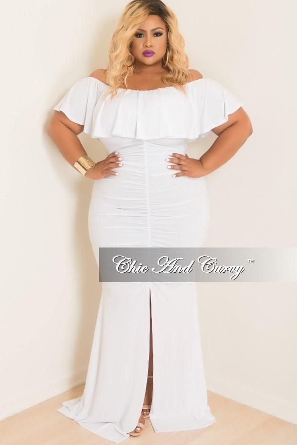 fc6795ab1e7 Plus Size Ruched BodyCon Long Dress with Off the Shoulder Ruffle – Chic And  Curvy