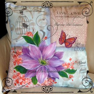 Clematis on Fabric Pillow