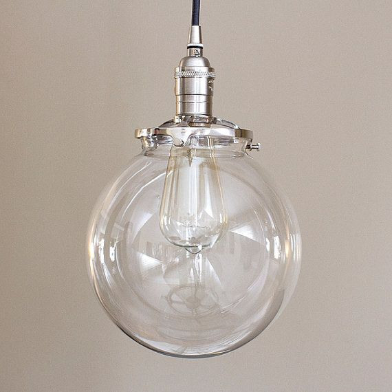 Clear glass globe pendant light fixture with 8 shade hand blown 8 round clear glass globe pendant fixture by oldebricklighting i like that it is on the smaller side aloadofball Image collections