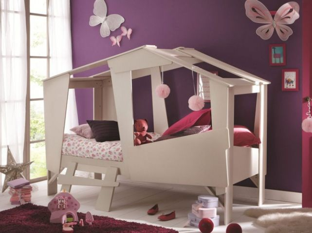 but lit cabane enfant beige deco lila pinterest simple. Black Bedroom Furniture Sets. Home Design Ideas