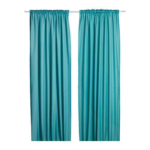 Ikea Vivan Pair Of Curtains 2 Panels Purple Turquoise Black Cerise Gray Curtains Living Room Ikea Curtains