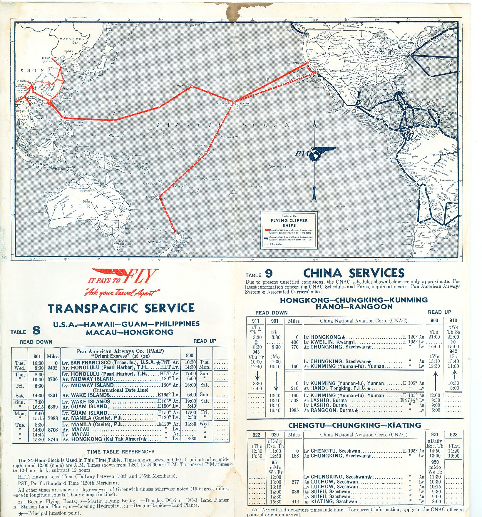 Route map and schedules 1940